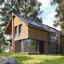 Sustainable architectural design of a cabin in the woods
