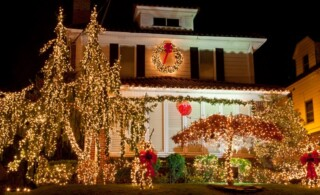 House with Christmas Lights at night