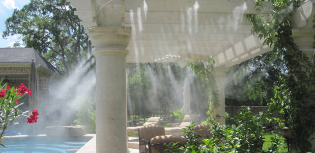Outdoor Mist Cooling Systems Provide Outside Air Conditioning