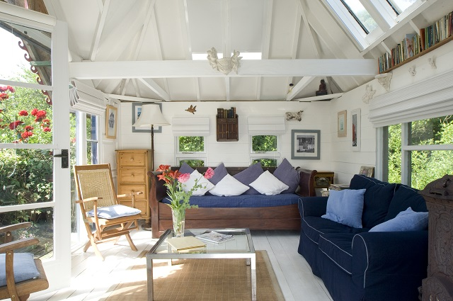 Interior of fully furnished sunroom