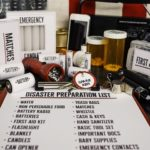 Disaster preparation kit. Items needed for disaster preparedness