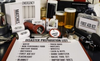 Disaster preparation kit. Items needed for disaster preparedness