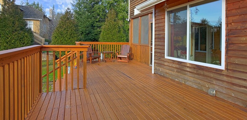 cedar wood deck on house