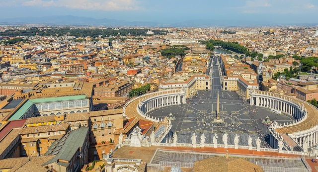Aerial view of St. Peters Square in The Vatican