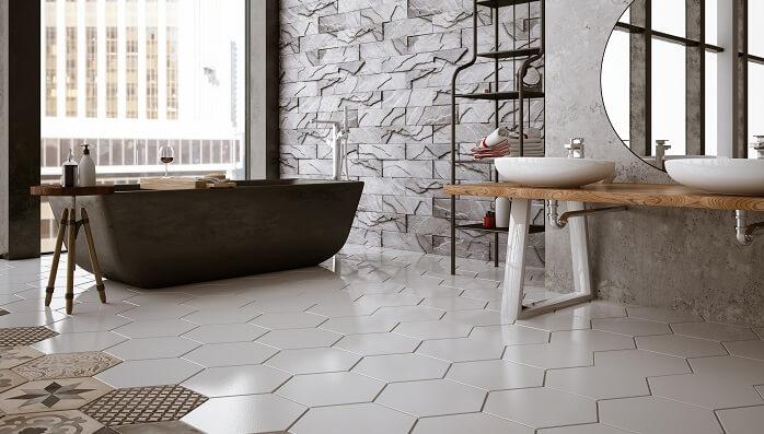 bathroom with ceramic tile floor