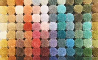 colorful palette of round carpet samples