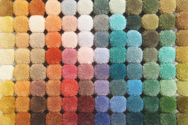 colorful palette of carpet samples