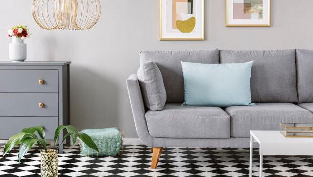 modern living room with checkered linoleum floor