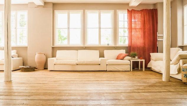 hardwood flooring in bright living room