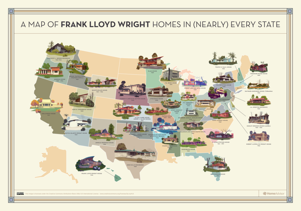 A map of Frank Lloyd Wright homes in (nearly) every state - HomeAdvisor