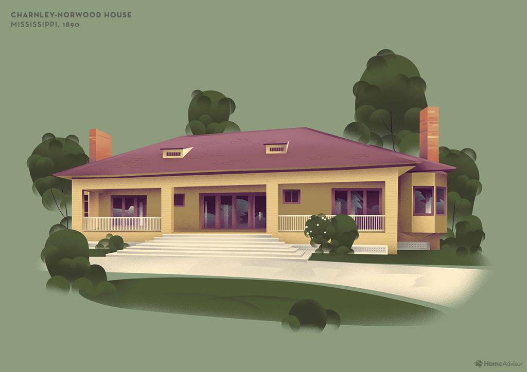 Illustration of Frank Lloyd Wright Charnley Norwood House