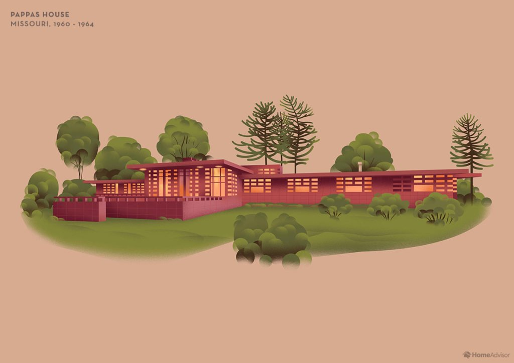 Illustration of Frank Lloyd Wright Pappas House