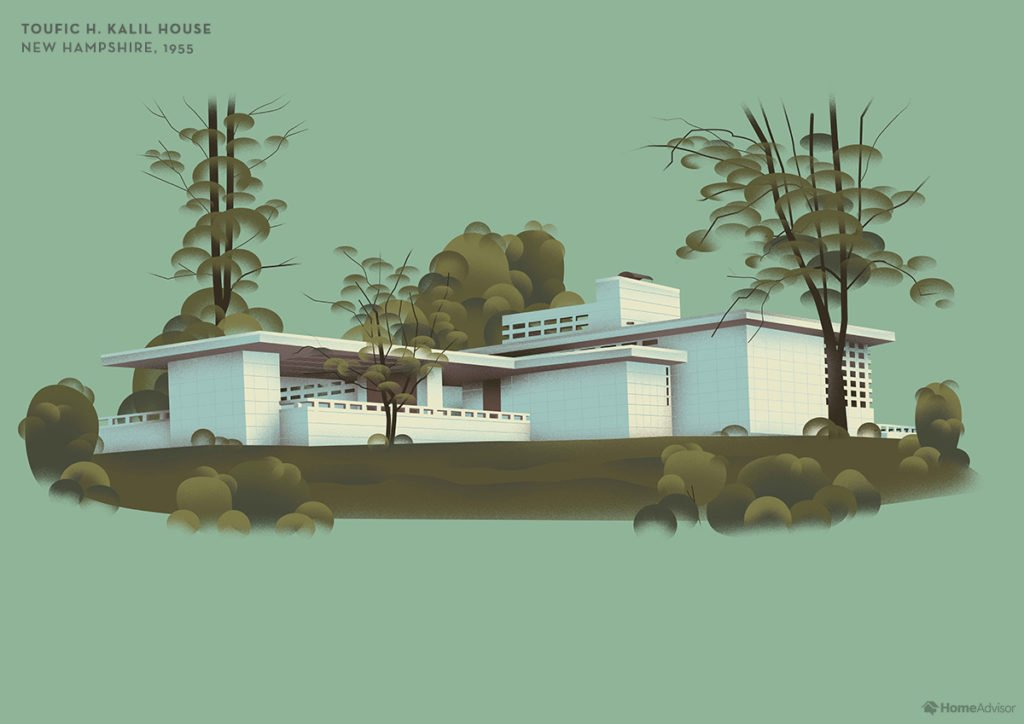 Illustration of Frank Lloyd Wright Toufic H. Kalil House