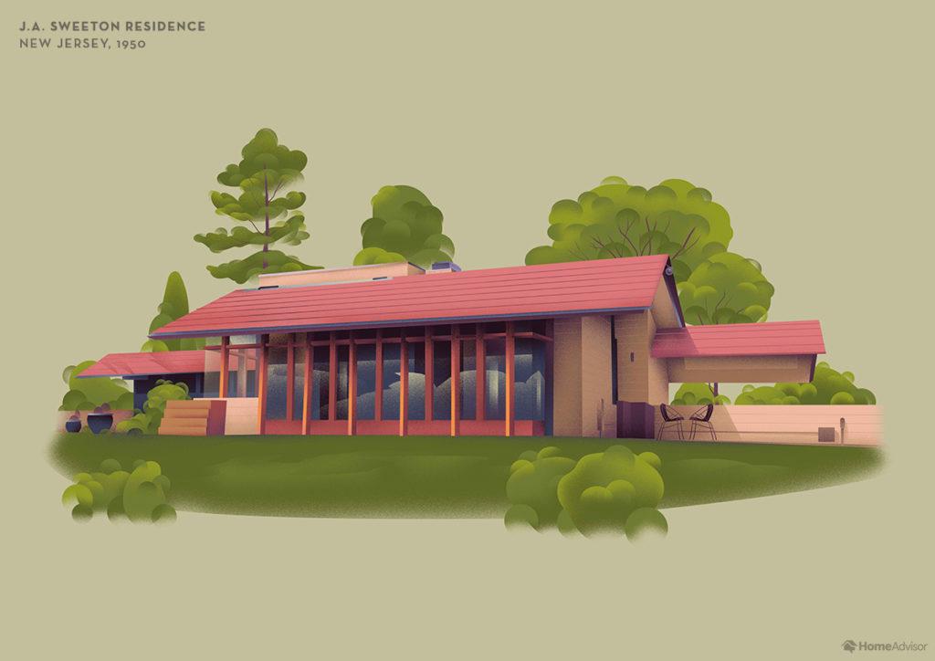 Illustration of Frank Lloyd Wright J. A. Sweeton Residence