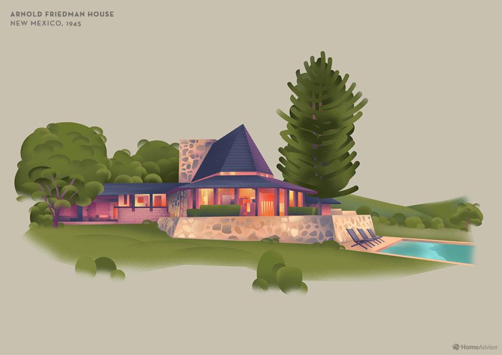Illustration of Frank Lloyd Wright Arnold Friedman House