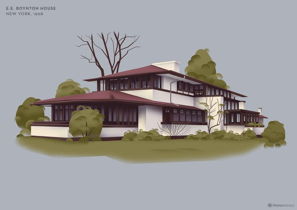 Illustration of Frank Lloyd Wright E. E. Boynton House