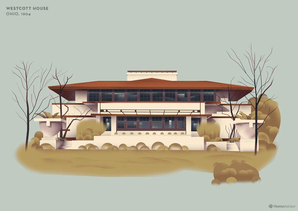 Illustration of Frank Lloyd Wright Westcott House