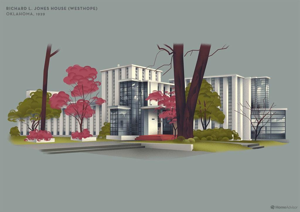 Illustration of Frank Lloyd Wright Richard L. Jones House