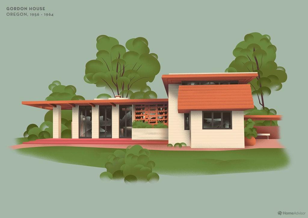Illustration of Frank Lloyd Wright's Gordon House