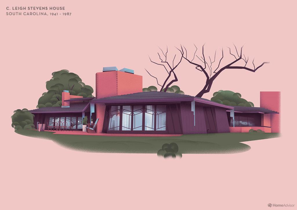Illustration of Frank Lloyd Wright C. Leigh Stevens House