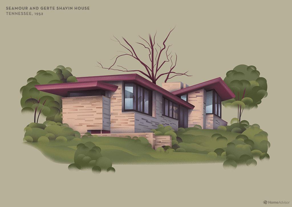 Illustration of Frank Lloyd Wright Semour and Gerte Shavin House