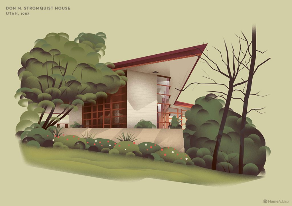 Illustration of Frank Lloyd Wright's Don M. Stromquist House