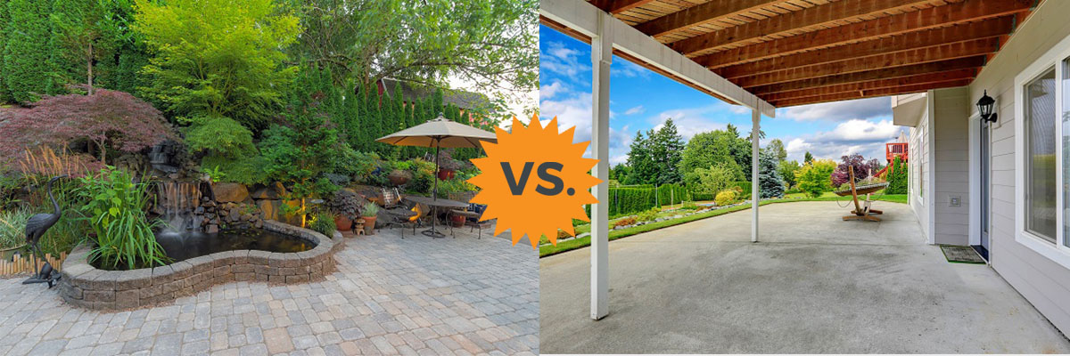 2020 Stamped Concrete Vs Pavers Costs For Patios Or Driveways
