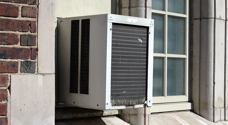 wall-mounted ac unit on building