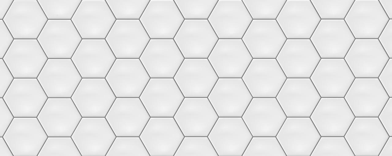close up of hexagon ceramic tiles for shower