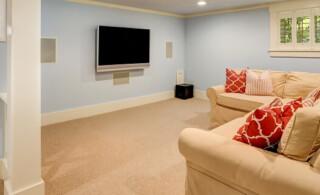 carpeted basement flooring