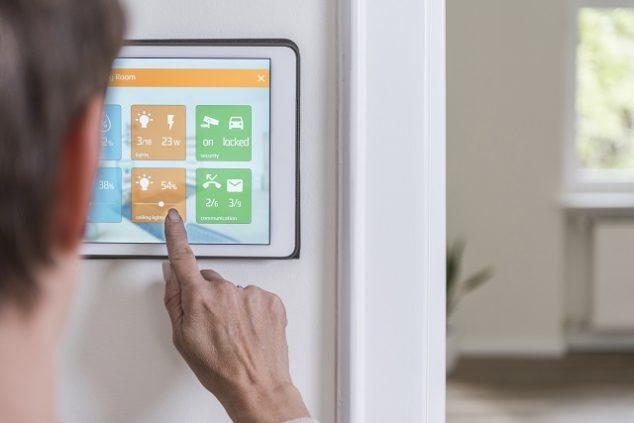 Woman using smart home screen