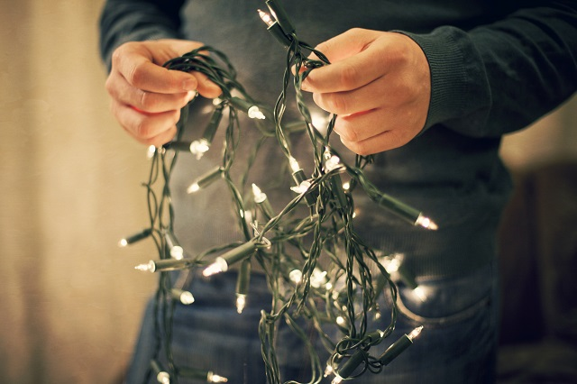 Man holding long strand of string lights with green wire and white bulbs
