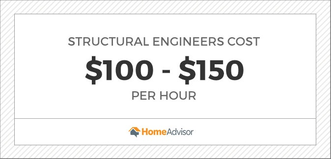 structural engineers cost $100 to $150 per hour