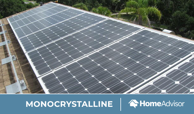 Monocrystalline solar panels installed on a roof