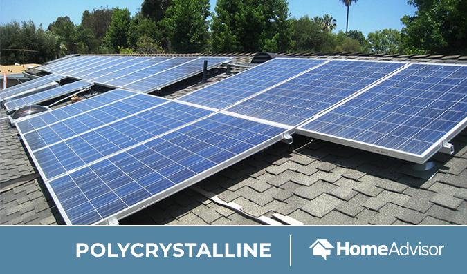 Rooftop polycrystalline solar panel installation