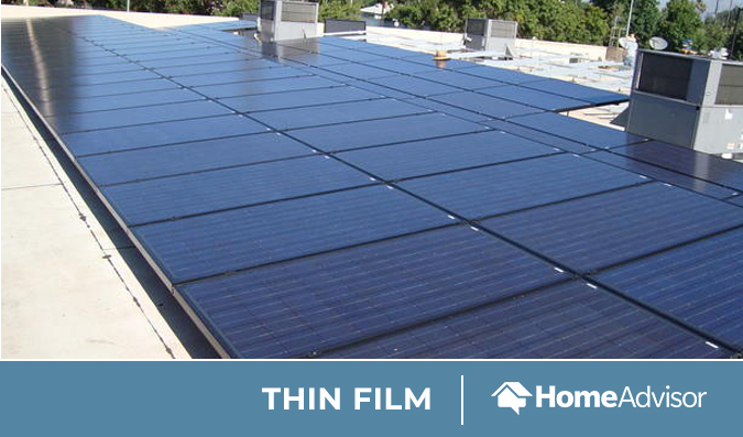 Thin film solar panels on a roof