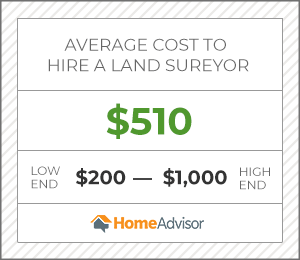 the average cost to hire a land surveyor is $510 or $200 to $1,000.