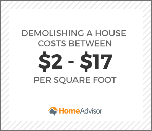 graphic with the average square foot cost to demolish a house between $2 and $17.