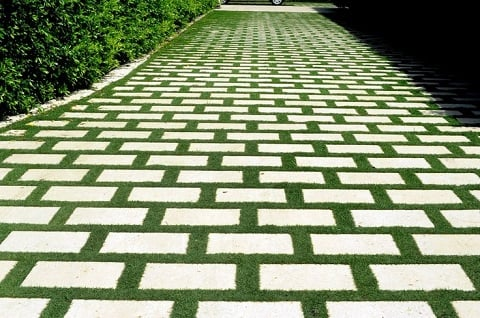 Grass and brick driveway lined with hedges