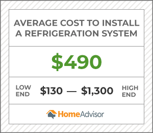 the average cost to install a refrigeration system is $490 or $130 to $1,300.