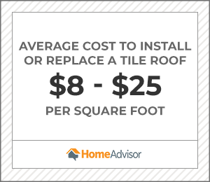 the average cost to install or replace a tile roof is $8 to $25 per square foot.