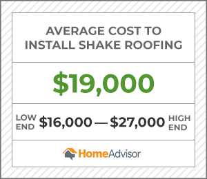 the average cost to install shake roofing is $19,000 or $16,000 to $27,000.