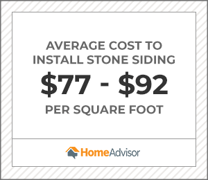 the average cost to install stone siding is $77 to $92 per square foot.