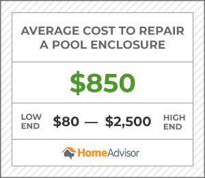 the average cost to repair a pool enclosure is $850 or $80 to $2,500.