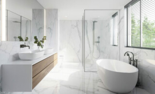 a newly cleaned marble bathroom