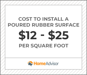 the average cost to install a poured rubber surface is $12 to $25 per square foot.