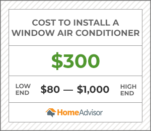 the cost to install a window ac is $300, or $80 to $1,000.