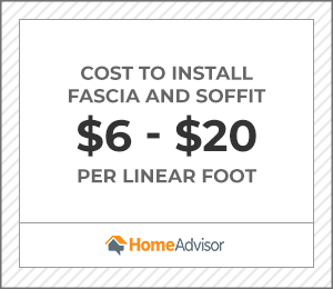 the average cost to install fascia and soffit is $6 to $20 per foot.