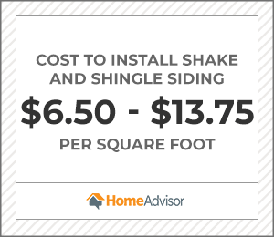 the average cost to install shake and shingle siding is $6.50 to $13.75 per square foot.