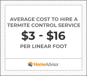 the average cost to hire a termite control service is $3 to $16 per foot.